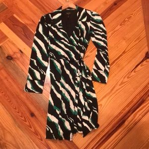 Laundry by Shelli Segal Green Black wrap dress